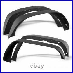 4x Black Powder Coated Flat Fender Flares for Jeep Wrangler JK Front & Rear