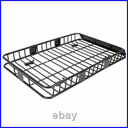 64 Universal Black Roof Rack Cargo Carrier with Extension Luggage Hold Basket SUV
