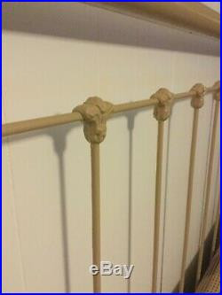 Antique Cast Iron Double Bed Restored Professionally Powder Coat Paint BEIGE