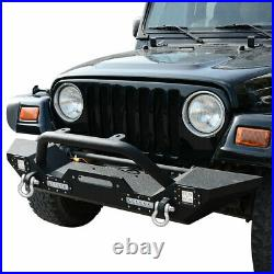 For Jeep Wrangler 2007-2018 JK Rear Bumper+Front Bumper Both with LED Lights