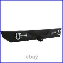 For Jeep Wrangler TJ YJ Textured Rear Bumper with2 LED lights Hitch Receiver 87-06