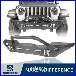 Hooke Road Stubby Mid Full Width Steel Front Bumper Fit Wrangler Jeep JL 18-21JT