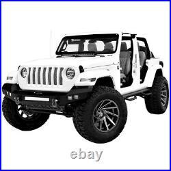 Hooke Road Textured Black Front Bumper with LED Lights Fit Jeep Wrangler JK 07-18