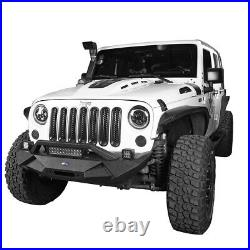 Hooke Road Textured Black Front Bumper with Winch Plate for 07-18 Jeep Wrangler JK