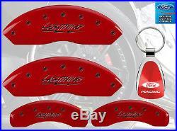 MGP Caliper Brake Covers For Ford 1999-2003 F-150 Red Paint Custom Black Logo