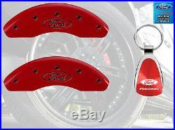 MGP Caliper Brake Covers For Ford 2011-2016 Fiesta Red Paint Custom Black Logo