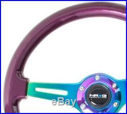 NRG Classic Wood Grain Wheel, 350mm 3 Neochrome spokes, purple pearl paint