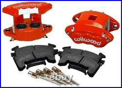 WILWOOD D154 BRAKE CALIPER & PAD SET WithPINS, FRONT, 2 PISTON, 1.04, RED, GM METRIC