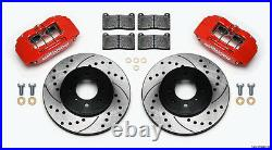 Wilwood Disc Brake Kit, Front Stock Replacement, Honda, Drilled Rotors, Red Calipers