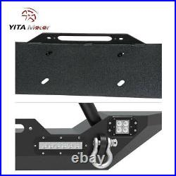 YITAMOTOR Front Bumper With LED Lights & D-Rings for 2007-2018 Jeep Wrangler JK