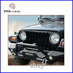 YITAMOTOR Front Bumper for 1987-2006 Jeep Wrangler YJ TJ with D-Ring & Led Lights
